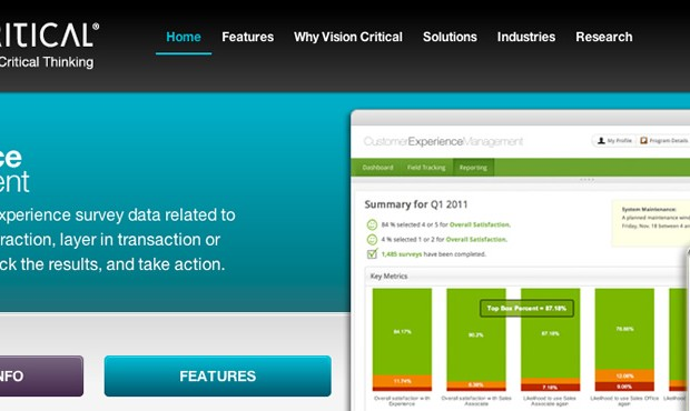 New website for Vision Critical's CEM product