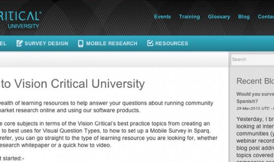 Vision Critical University Design